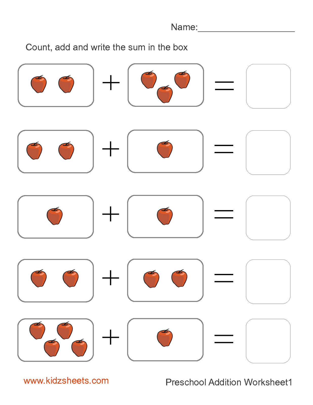 Preschool Printables   Printable Preschool Worksheets,free   Free Printable Preschool Addition Worksheets