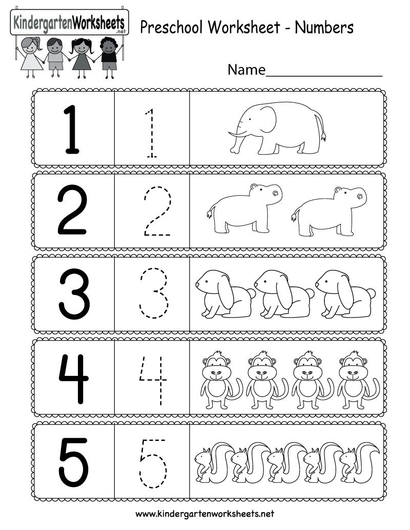 Preschool Worksheet Using Numbers - Free Kindergarten Math Worksheet | Free Printable Preschool Math Worksheets