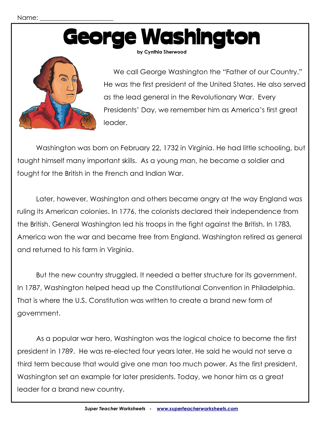 President's Day Coloring Worksheet | George Washington Worksheets | Free Printable President Worksheets