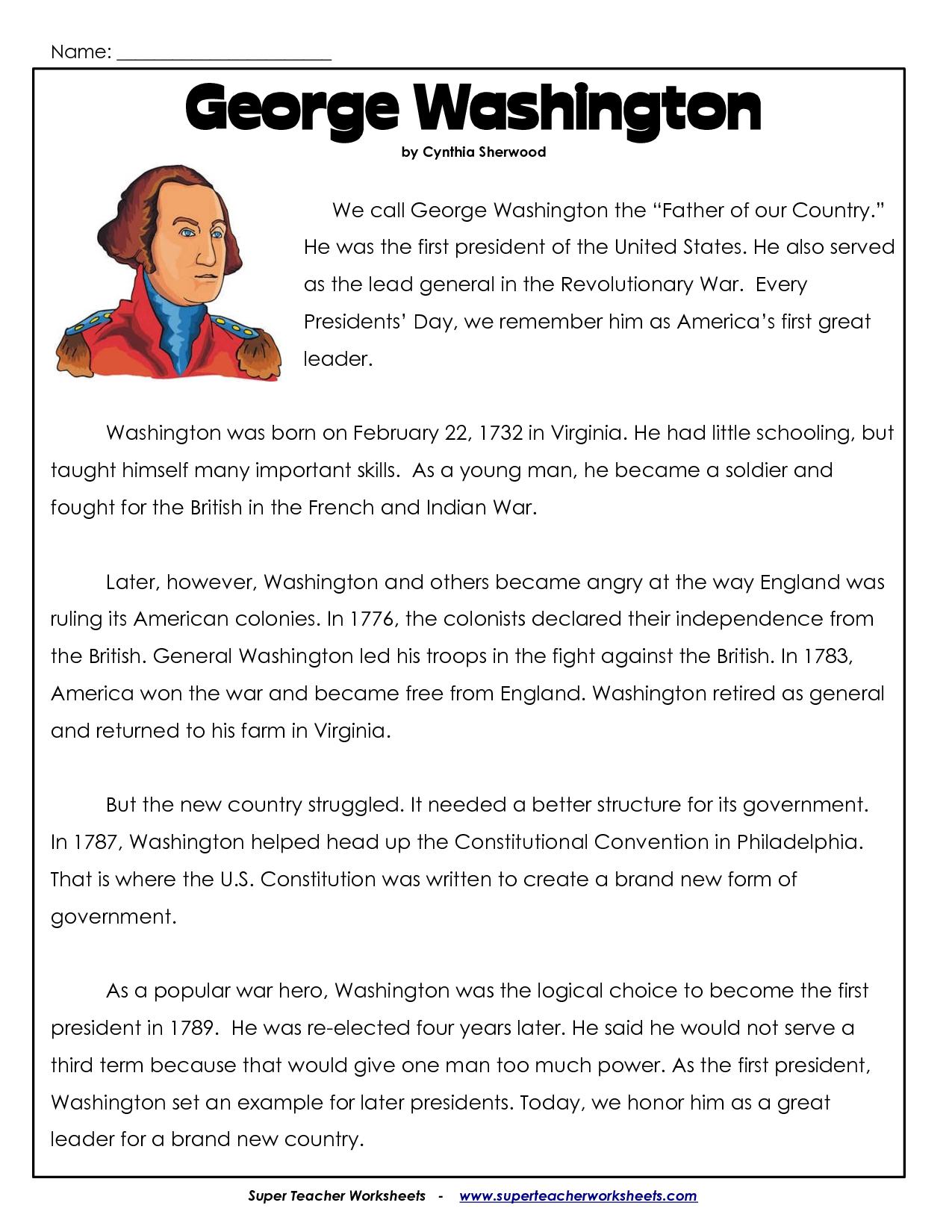 President's Day Coloring Worksheet | George Washington Worksheets | George Washington Printable Worksheets