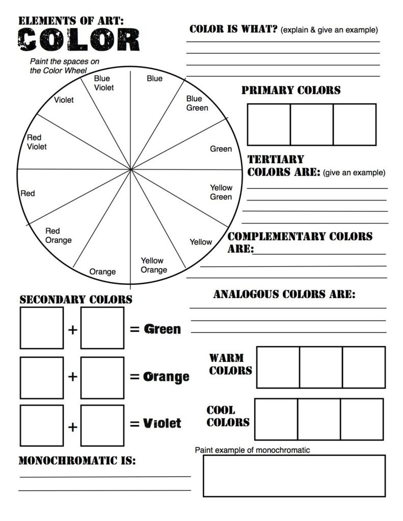Preview Large: Free Elements Of Art Color Wheel Worksheet And Lesson | Printable Color Wheel Worksheet