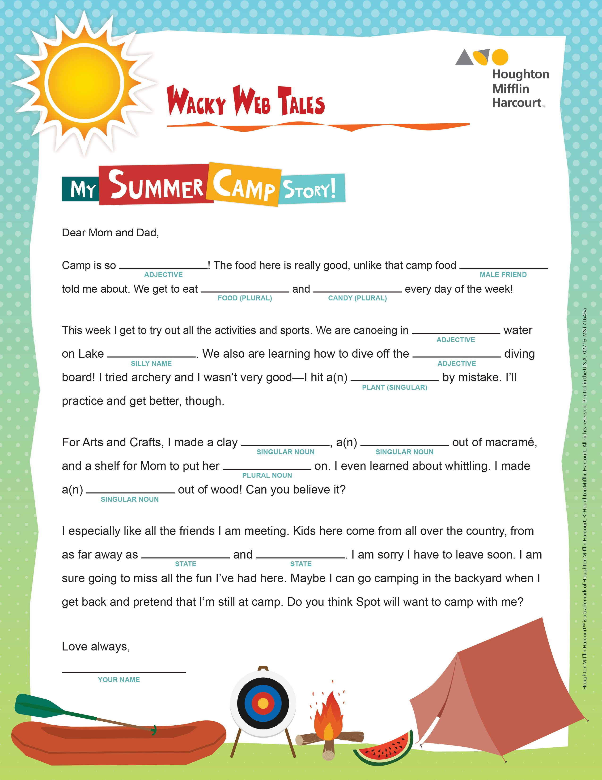 Print This Fun, Summer-Themed Worksheet To Reinforce Parts Of Speech | Houghton Mifflin Printable Worksheets