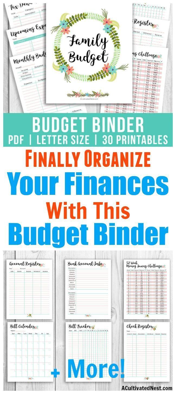 Printable Budget Binder- Floral | Money Saving Challenges | Printable Budget Binder Worksheets