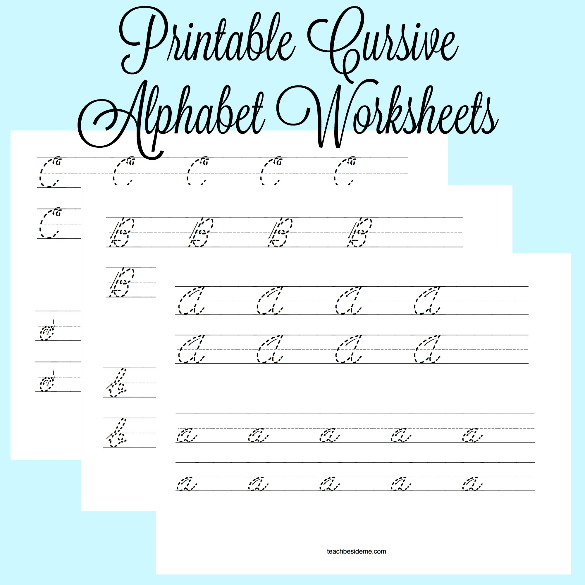 Printable Cursive Alphabet Worksheets – Teach Beside Me | Printable Cursive Worksheets
