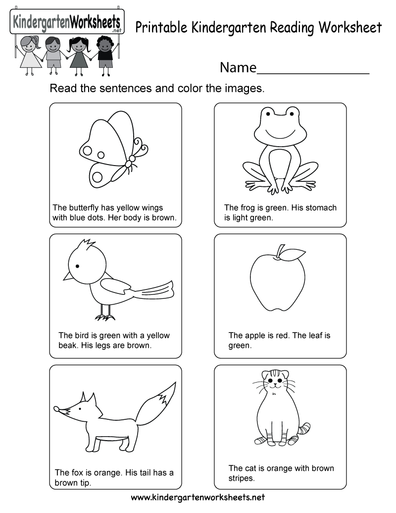 Printable Kindergarten Reading Worksheet - Free English Worksheet | Kindergarten Reading Printable Worksheets