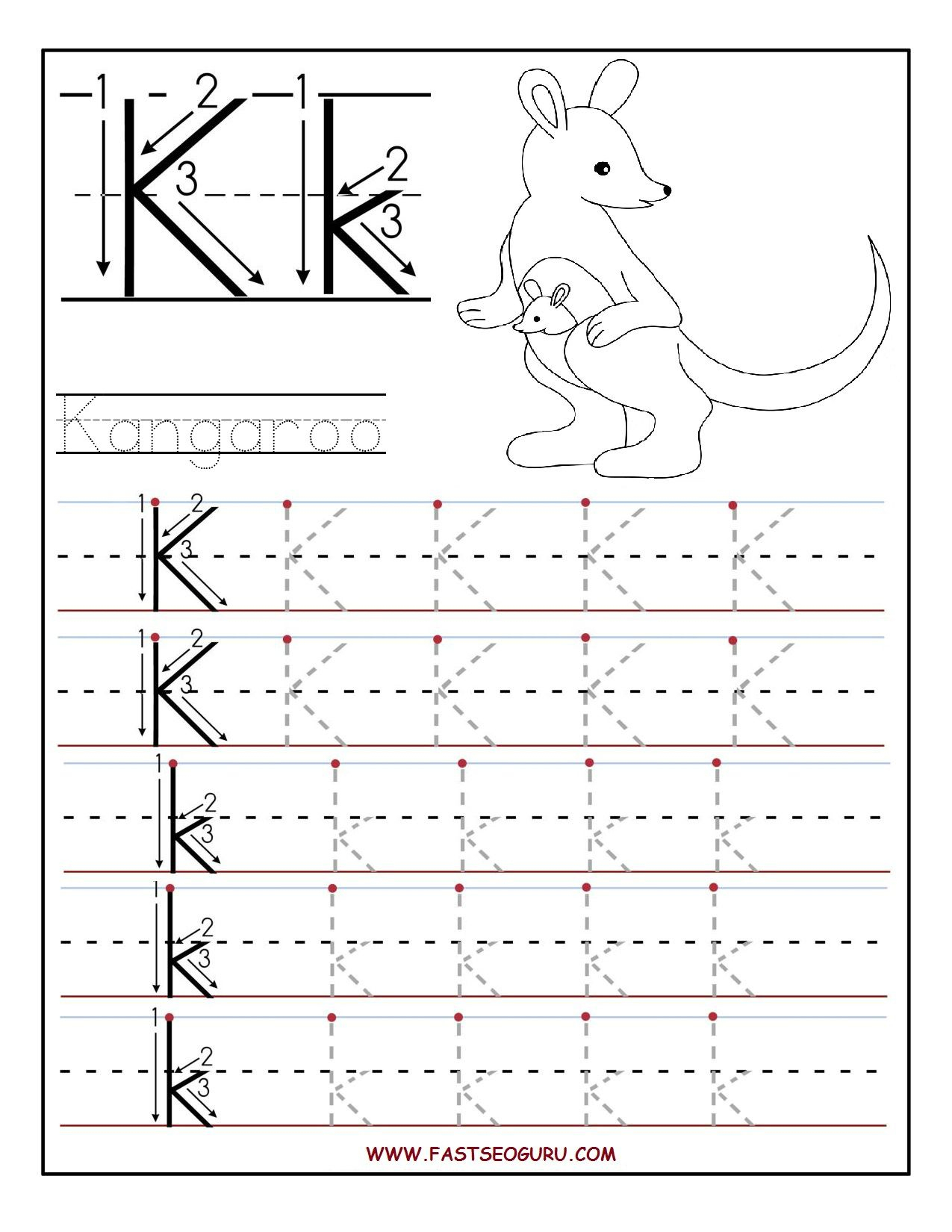 Printable Letter K Tracing Worksheets For Preschool | Learning | Free Printable Letter K Worksheets