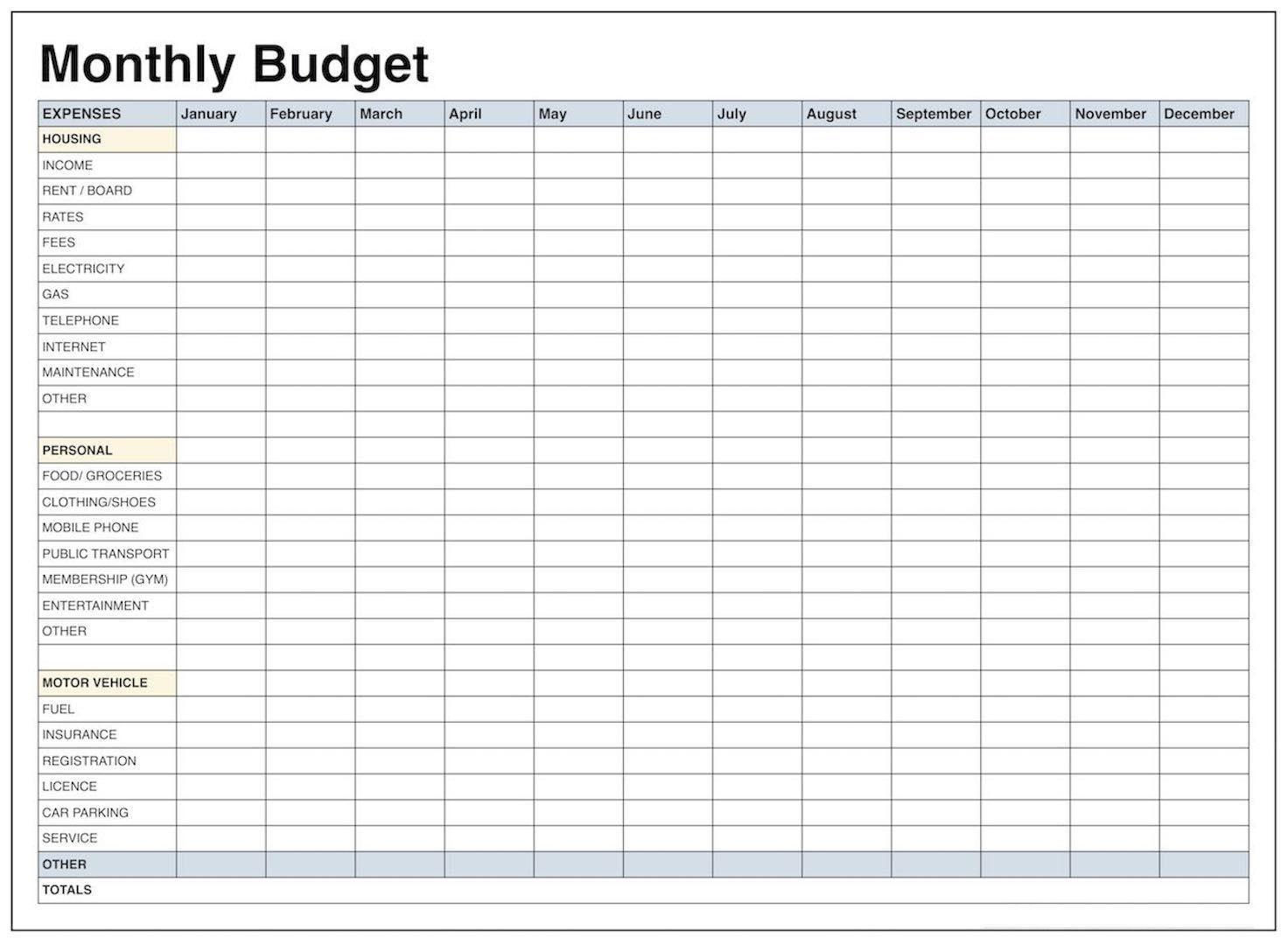 Printable Monthly Budget Worksheet Excel - Koran.sticken.co | Blank Budget Worksheet Printable