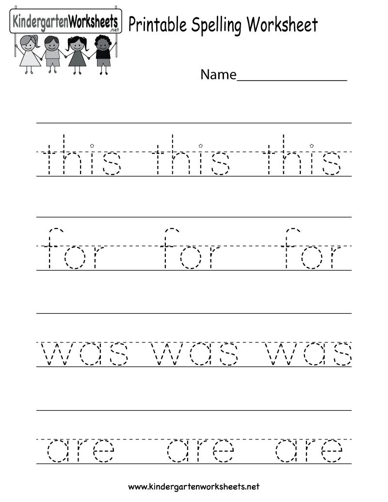 Printable Spelling Worksheet - Free Kindergarten English Worksheet | Printable Kindergarten Worksheets