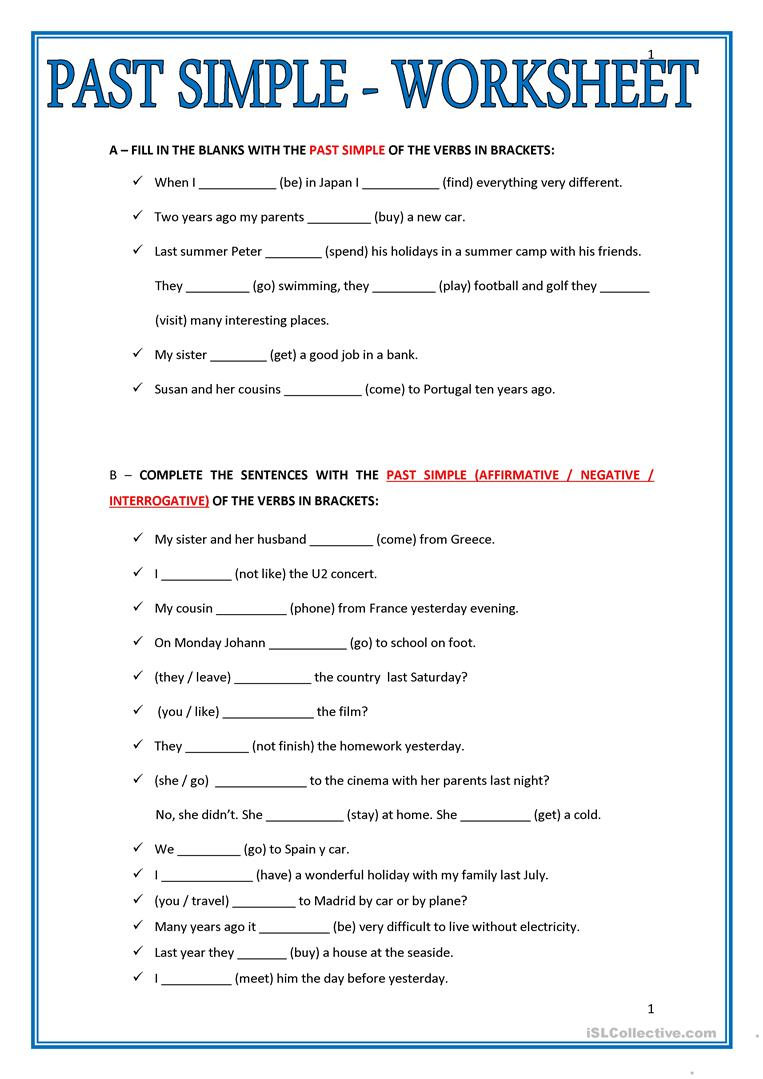 Printable Teachers -Made Simple Past Free Worksheet Esl | Free Printable Esl Worksheets