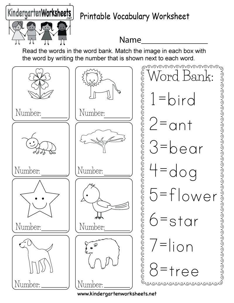 Printable Vocabulary Worksheet - Free Kindergarten English Worksheet | English Worksheets Free Printables