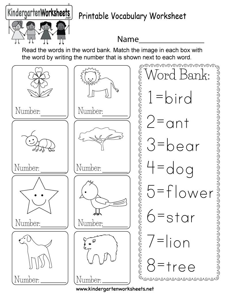 Printable Vocabulary Worksheet - Free Kindergarten English Worksheet | Printable English Worksheets