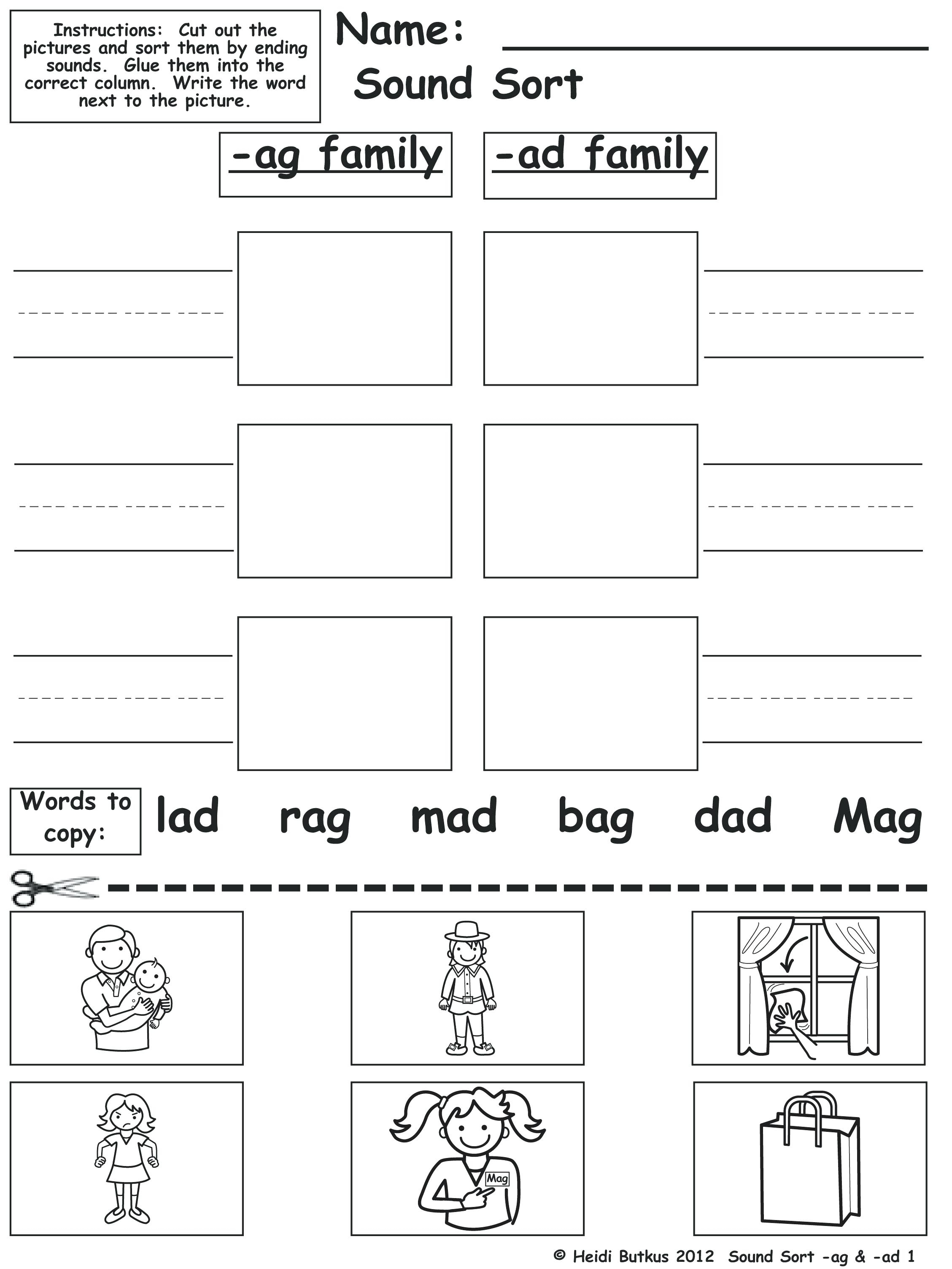 Printable Word Family Lists Word And Picture Sort Free Printable | Free Printable Word Family Worksheets For Kindergarten