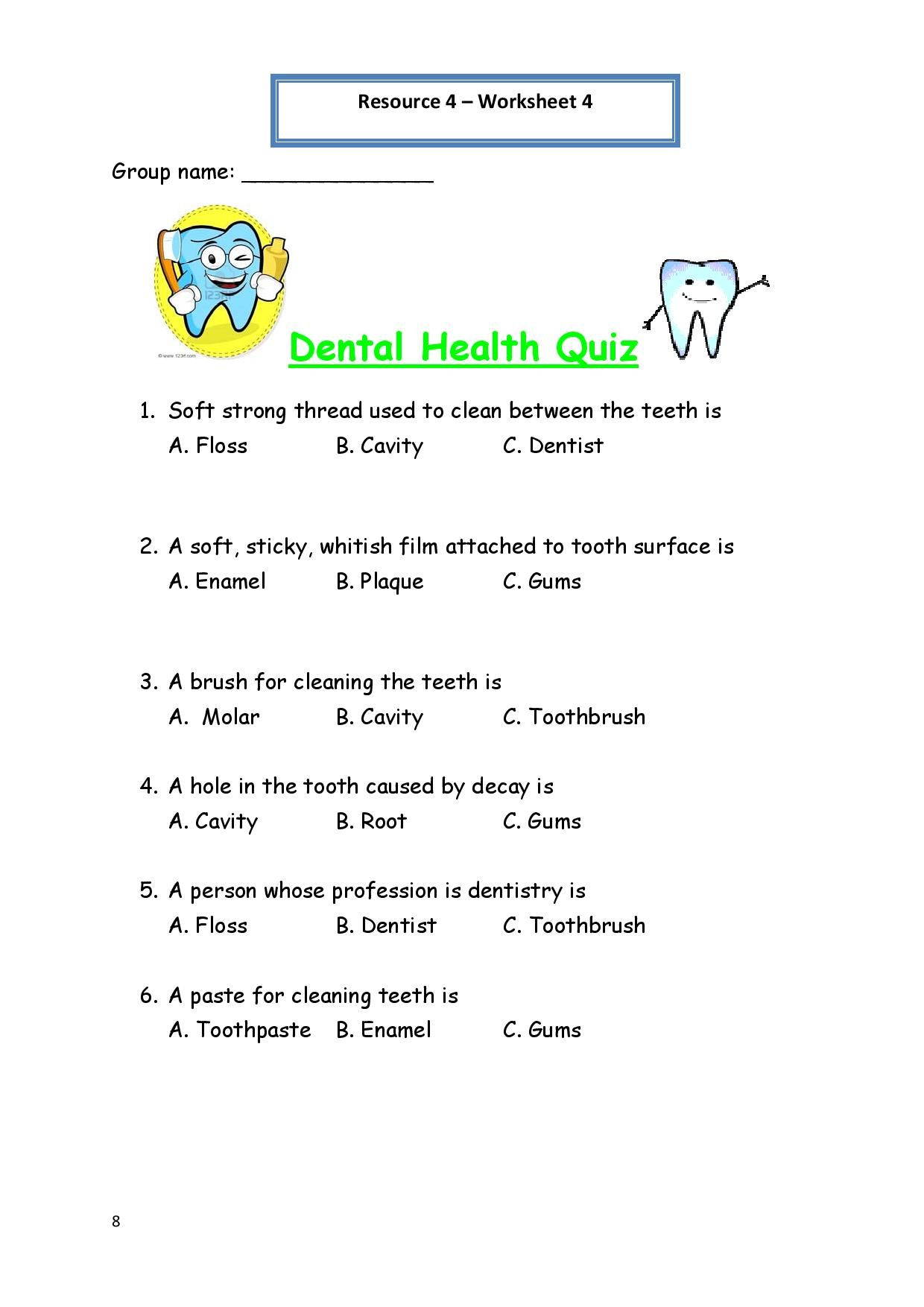 Printable Worksheets For Personal Hygiene   Personal Hygiene   Dental Hygiene Printable Worksheets