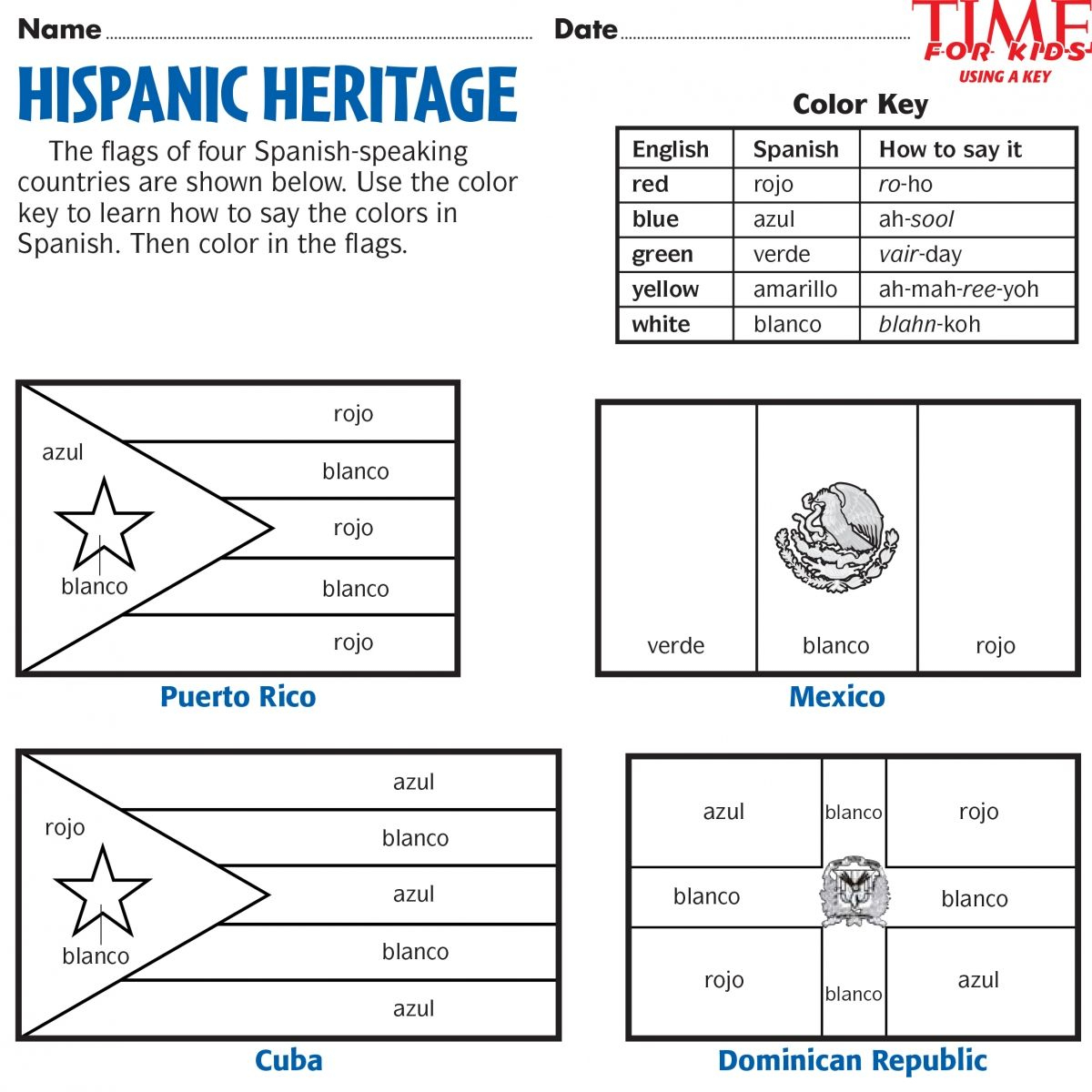 Printables For Hispanic Heritage Month | Time For Kids | Hispanic | Hispanic Heritage Month Printable Worksheets