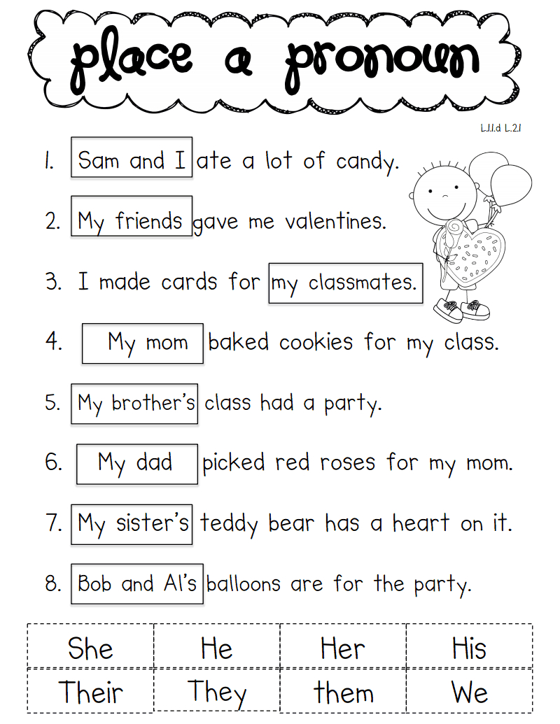Pronoun Valentine.pdf | School - Ela | Pronoun Worksheets, Classroom | Free Printable Pronoun Worksheets For 2Nd Grade