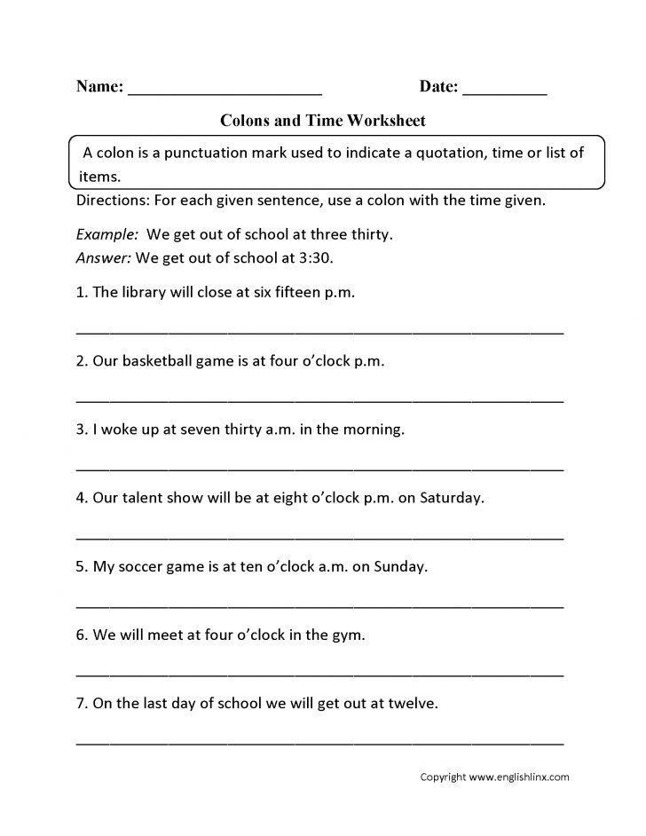 Free Printable Punctuation Worksheets For Middle School