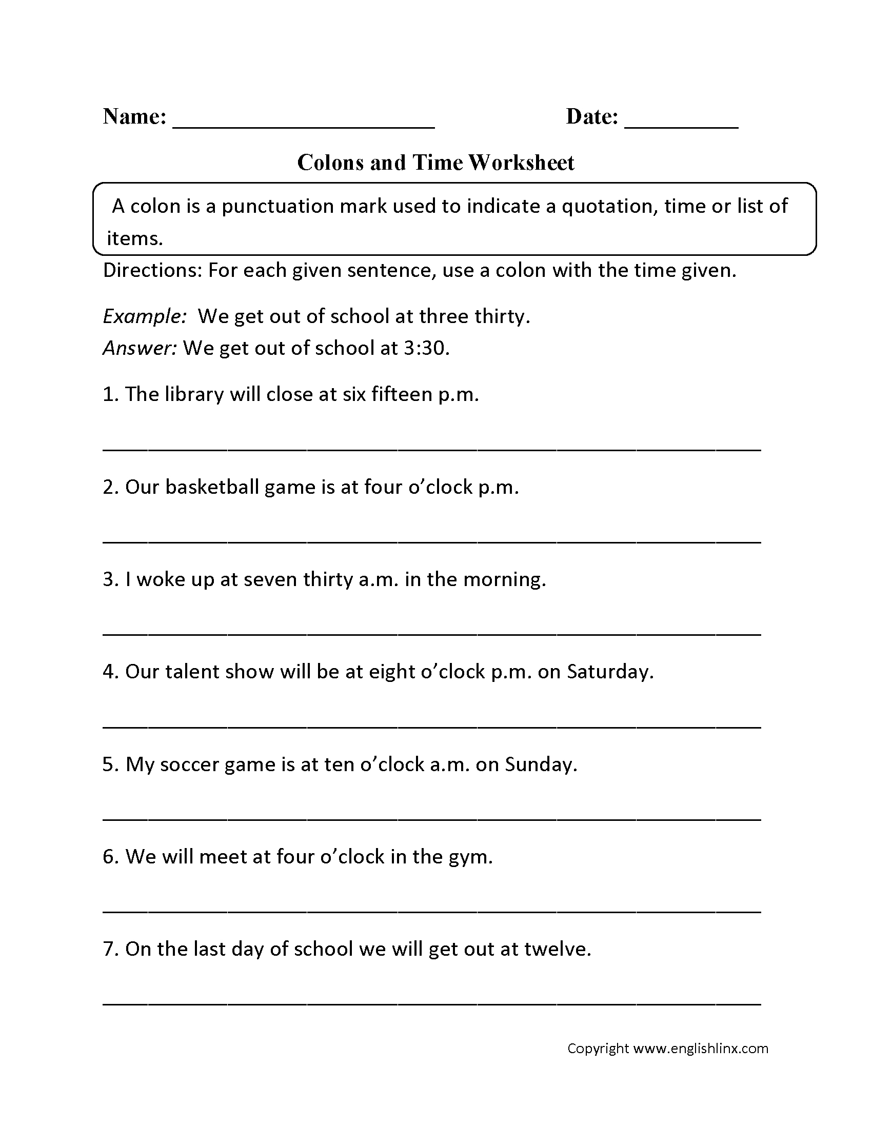 Punctuation Worksheets | Colon Worksheets | Free Printable Punctuation Worksheets For Middle School
