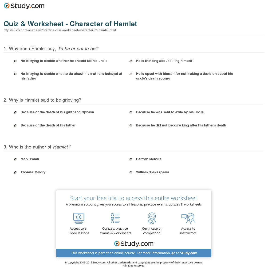 Quiz & Worksheet - Character Of Hamlet | Study | Hamlet Printable Worksheets