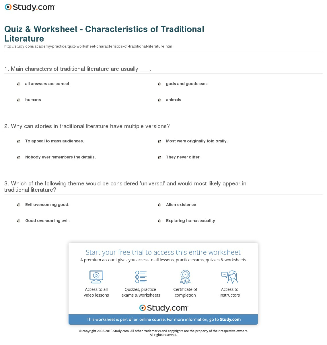 Quiz & Worksheet - Characteristics Of Traditional Literature | Study | Printable Literature Worksheets