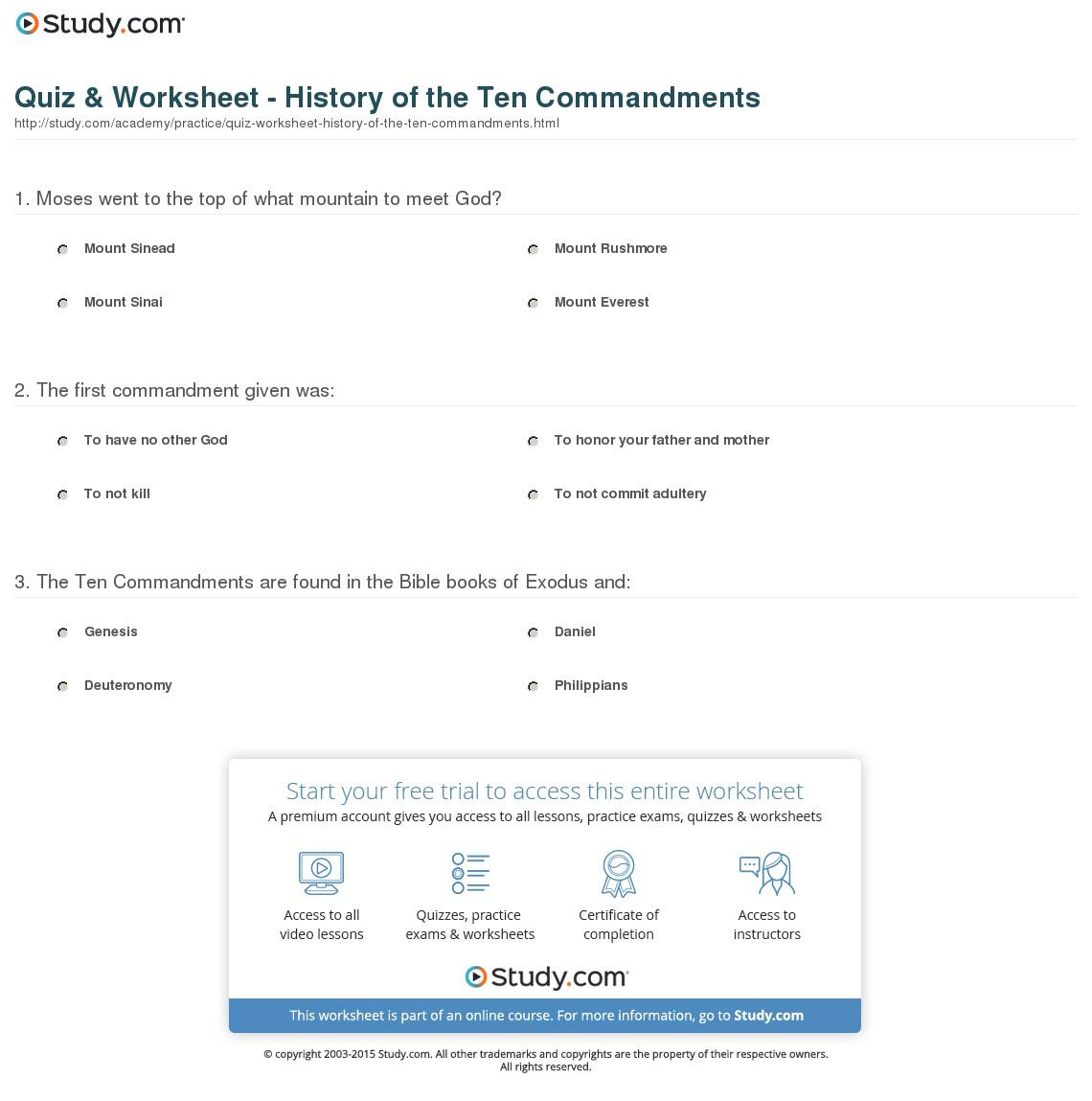 Quiz & Worksheet - History Of The Ten Commandments | Study | 10 Commandments Printable Worksheets