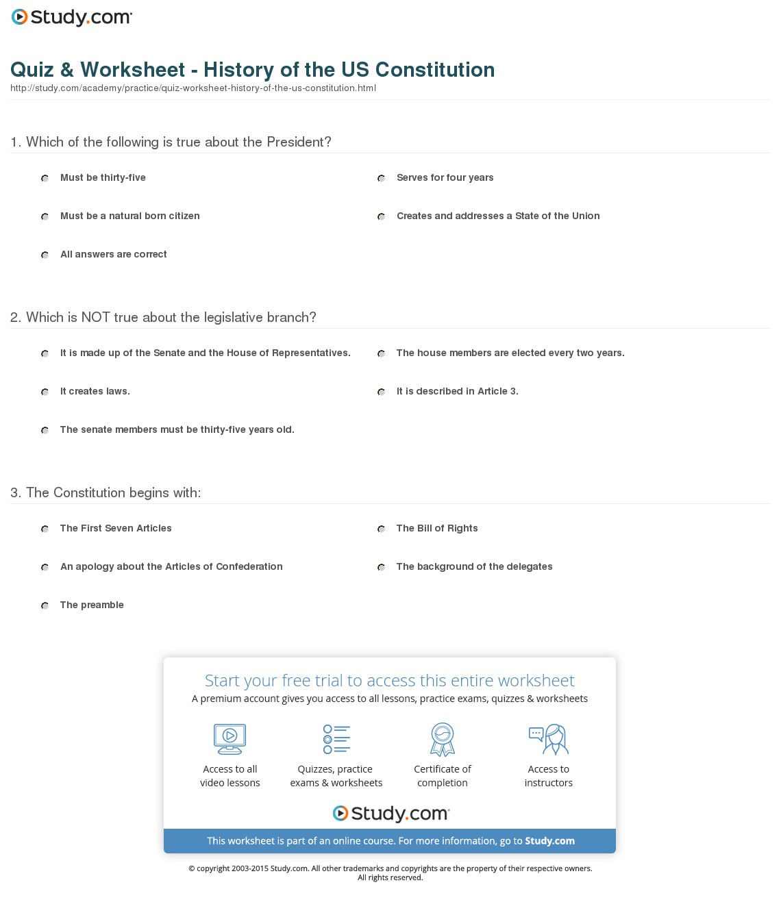 Quiz & Worksheet - History Of The Us Constitution | Study | Free Printable Us Constitution Worksheets