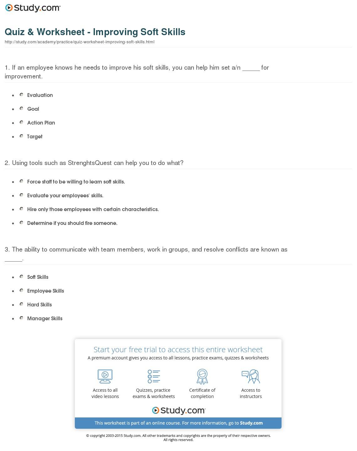 Quiz & Worksheet - Improving Soft Skills | Study - Free Library | Free Printable Library Skills Worksheets