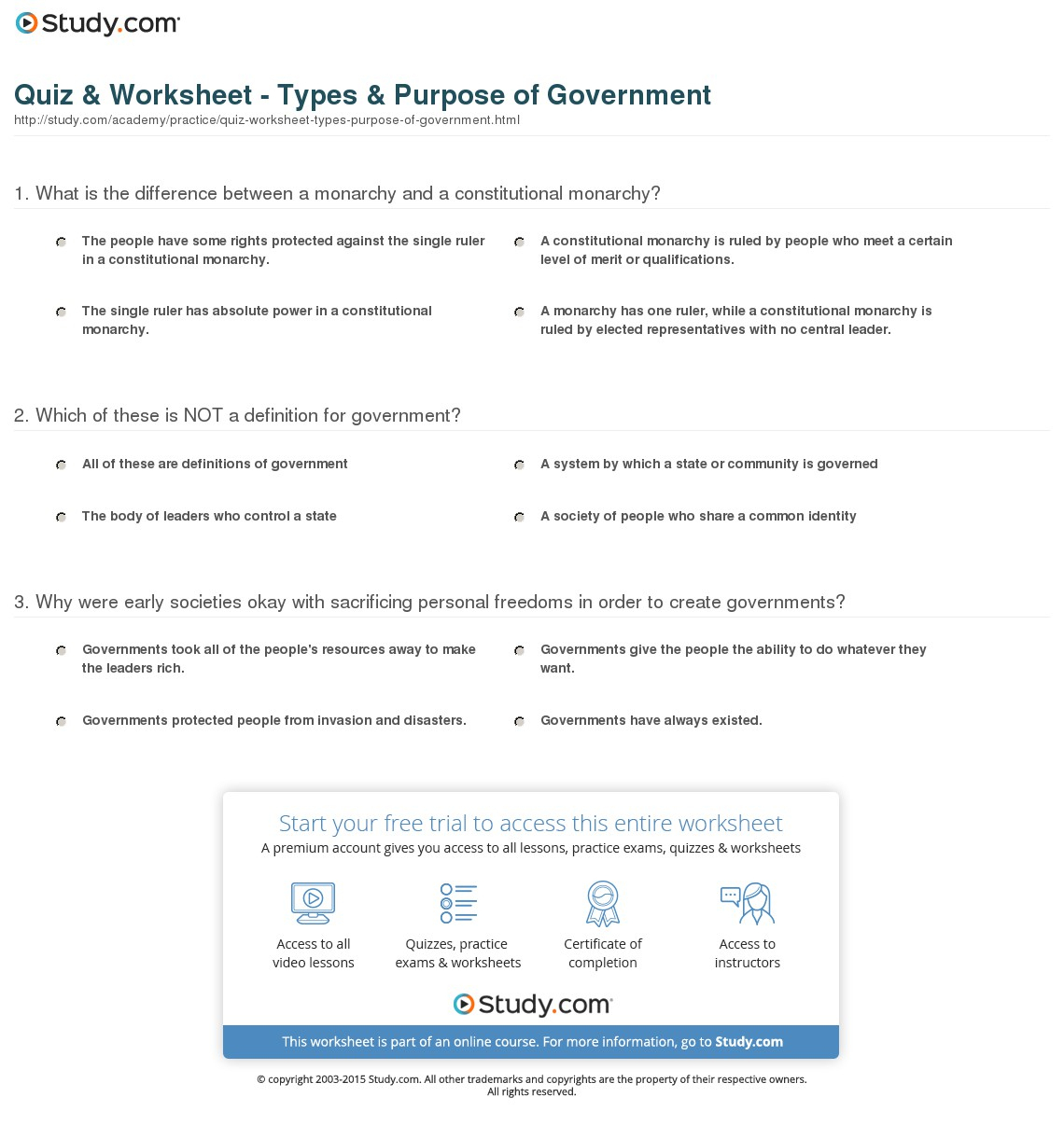 Quiz & Worksheet - Types & Purpose Of Government | Study | Types Of Government Worksheets Printable