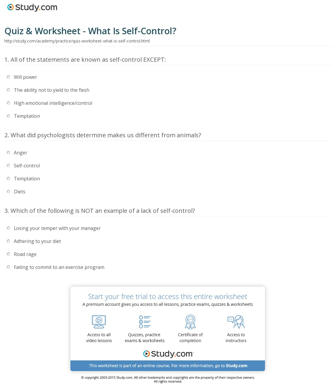 Quiz & Worksheet - What Is Self-Control? | Study | Free Printable Self Control Worksheets