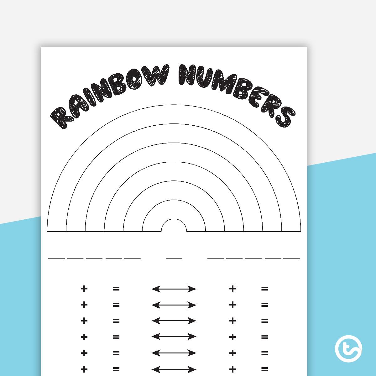 Rainbow Numbers Worksheet | Rainbow Facts Worksheets Printable