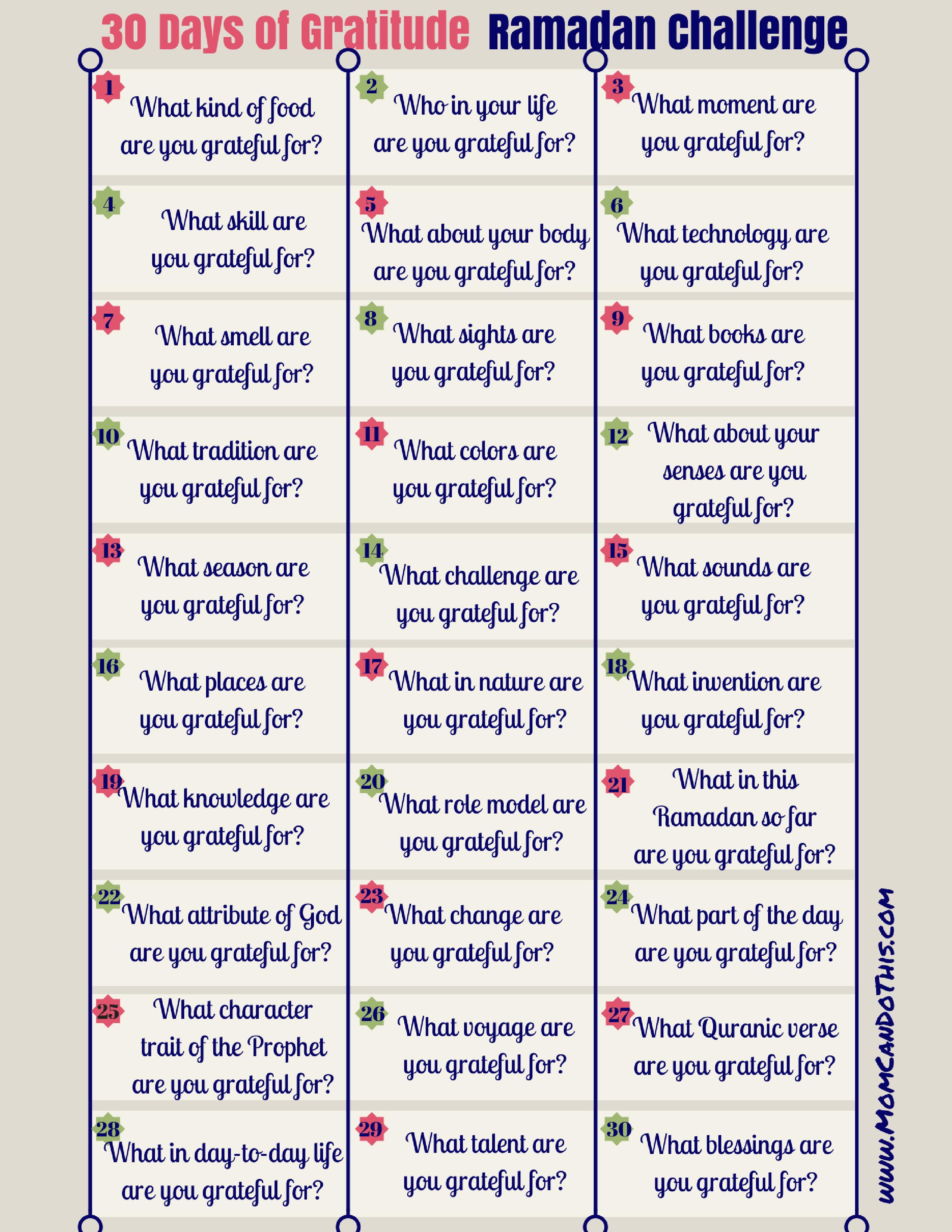 Ramadan Gratitude Challenge - 30 Day Challenge. Make Ramadan Count!   Free Printable Gratitude Worksheets