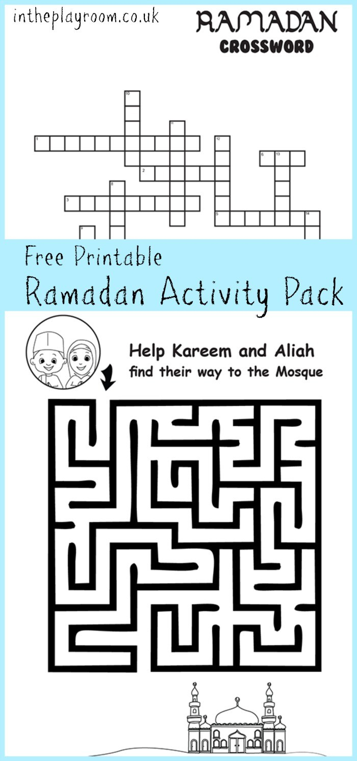 Ramadan Maze And Crossword Printable Activities - In The Playroom | Ramadan Worksheets Printables