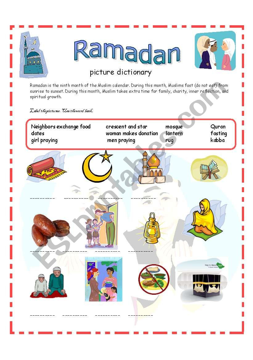 Ramadan Picture Dictionary 13-09-08 - Esl Worksheetazza_20 | Ramadan Worksheets Printables
