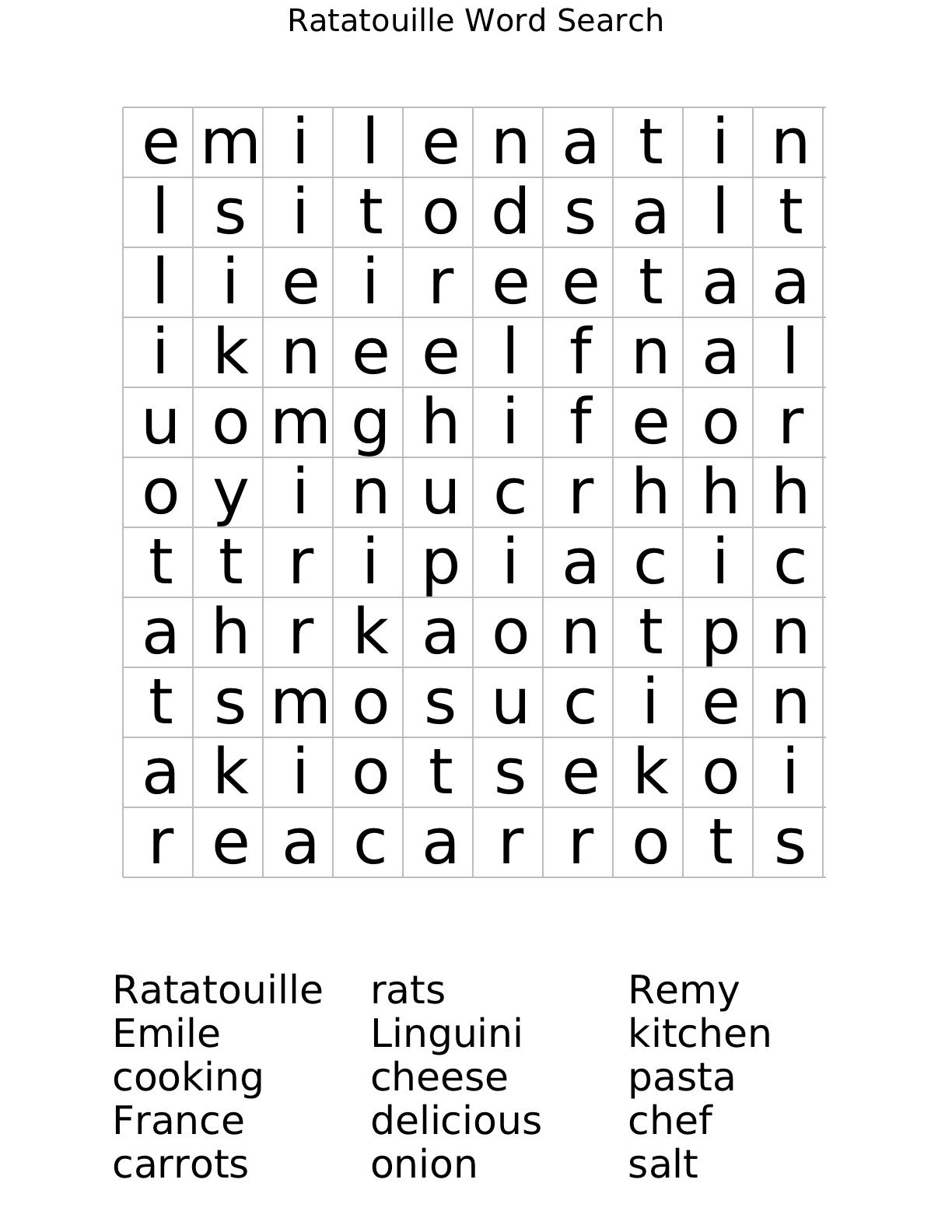 Ratatouille Word Search Worksheet | Free Math Worksheets | Free Printable Math Word Search Worksheets