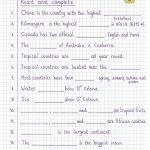Read And Complete   Geography Worksheet   Free Esl Printable | Free Printable Geography Worksheets