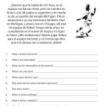 Read Spanish Passage And Answer Questions In English | Free Printable Middle School Reading Comprehension Worksheets
