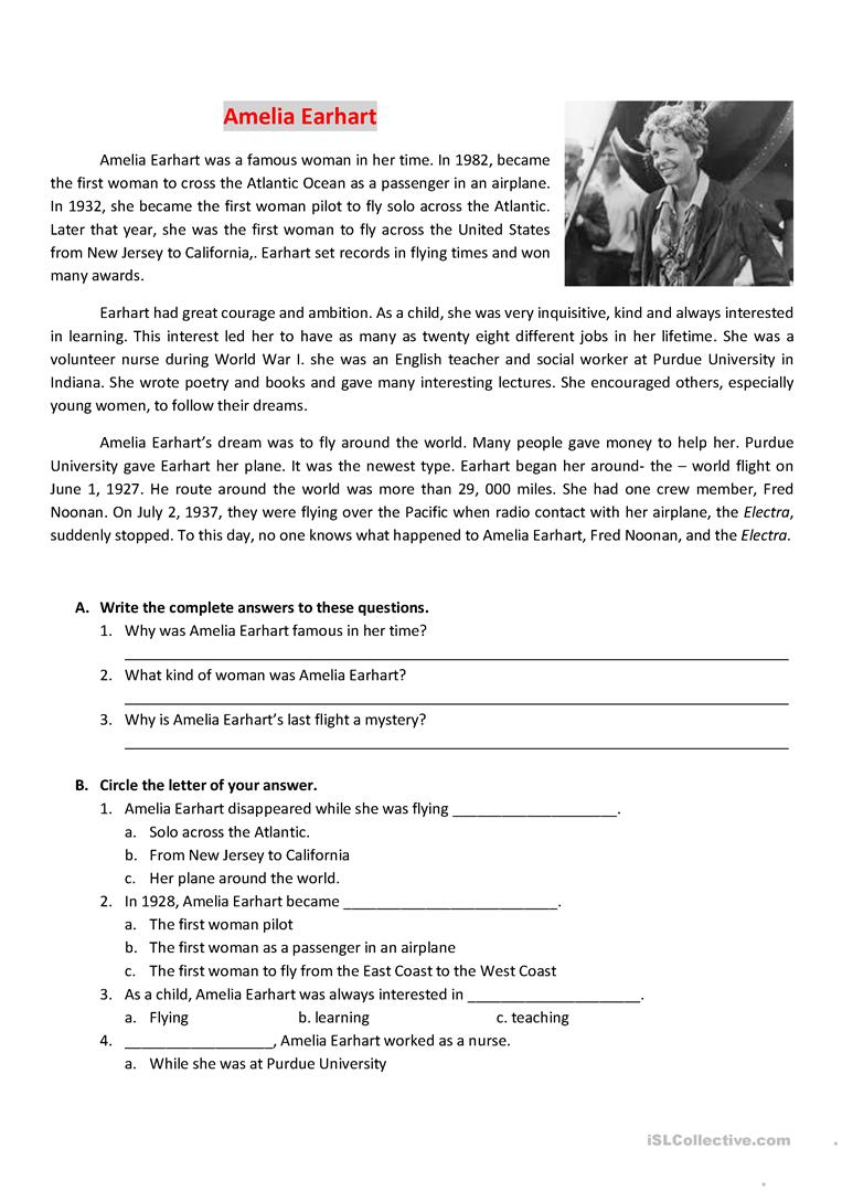 Reading About Amelia Earhart Worksheet - Free Esl Printable | Amelia Earhart Free Worksheets Printable