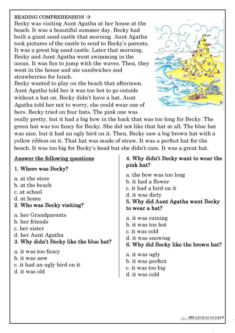 Reading Comprehension For Beginner And Elementary Students 3 | Beginning Reading Worksheets Printable