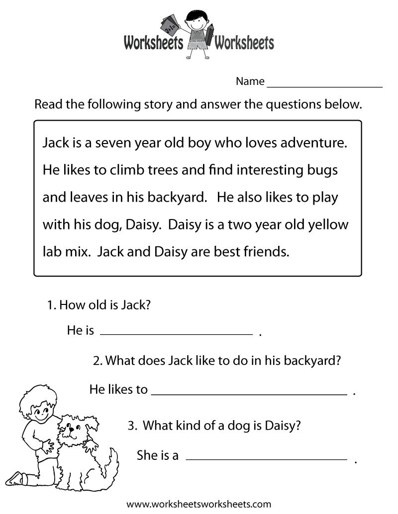 Reading Comprehension Practice Worksheet Printable | Language | Free | 1St Grade Reading Comprehension Worksheets Printable