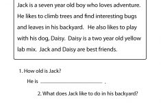 Printable Reading Worksheets For 1St Grade