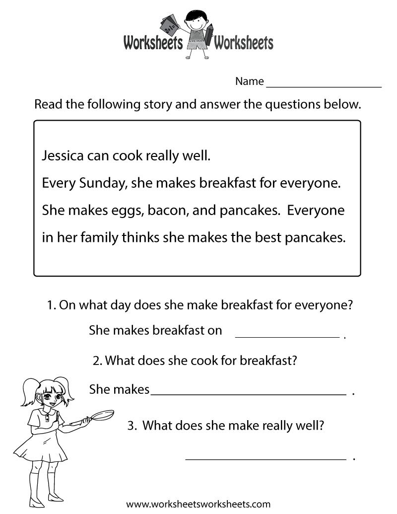 Reading Comprehension Test Worksheet Printable | Reading | Free | 1St Grade Reading Comprehension Worksheets Printable