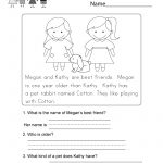 Reading Comprehension Worksheet   Free Kindergarten English | Free Printable English Reading Worksheets For Kindergarten