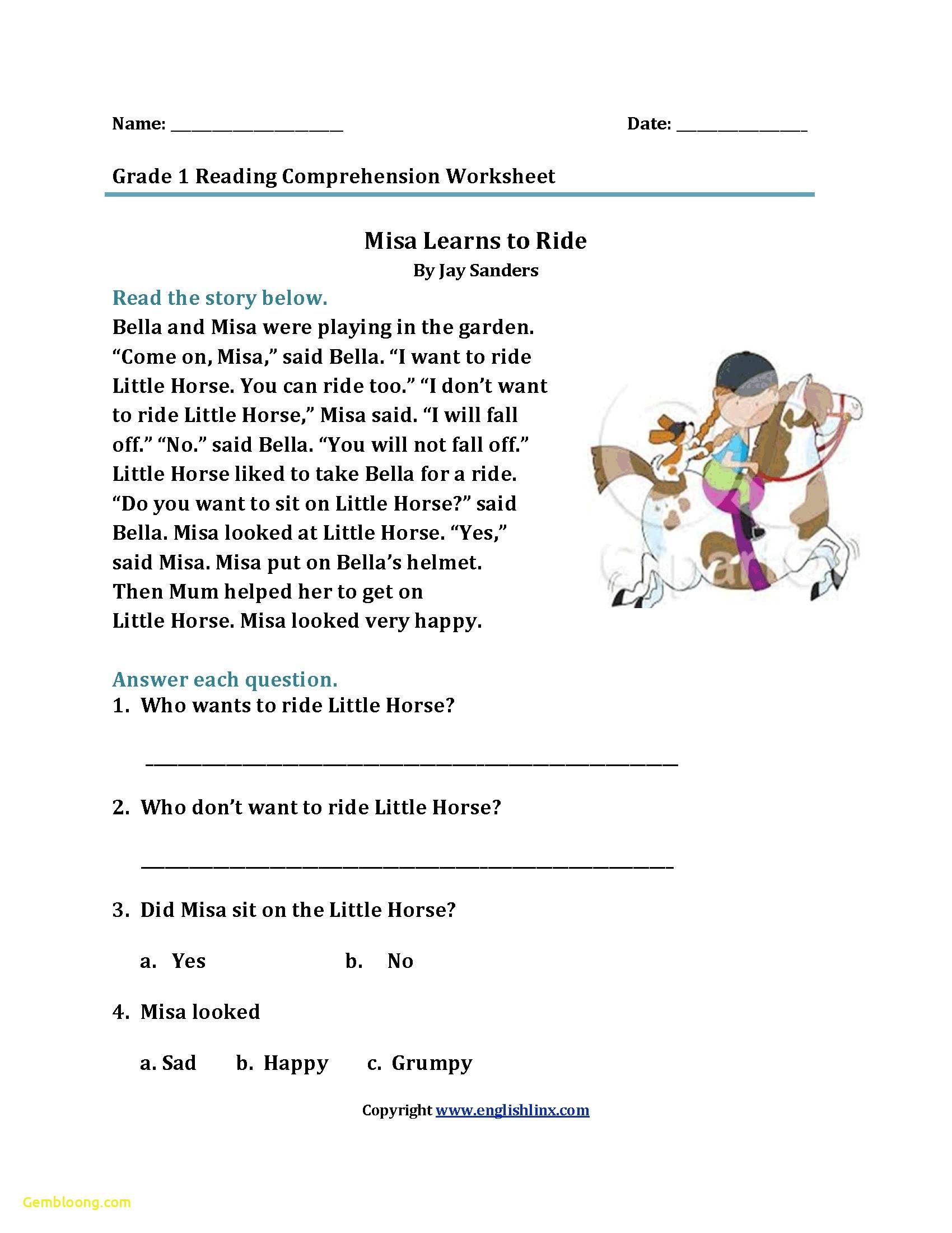 Reading Comprehension Worksheets For 1St Grade - Cramerforcongress | Free Printable Grade 1 Reading Comprehension Worksheets