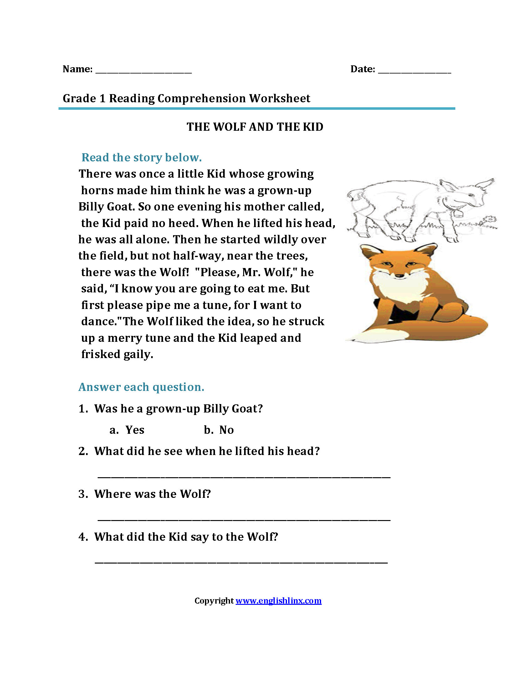 Reading Worksheets | First Grade Reading Worksheets | 1St Grade Reading Comprehension Worksheets Printable