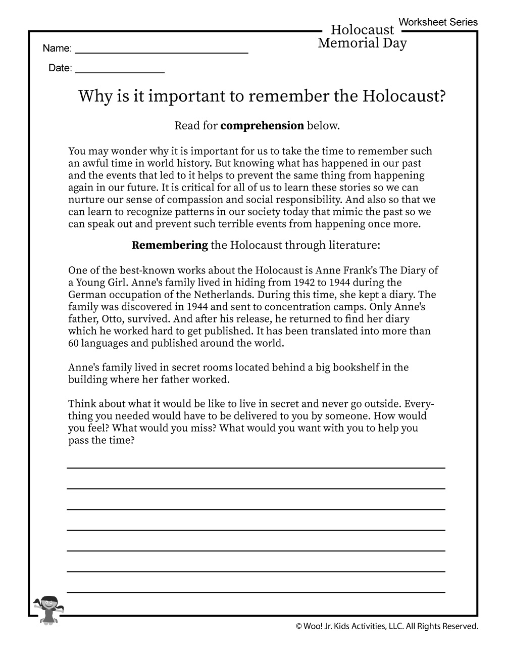 Remembering Anne Frank Worksheet | Woo! Jr. Kids Activities | Holocaust Printable Worksheets