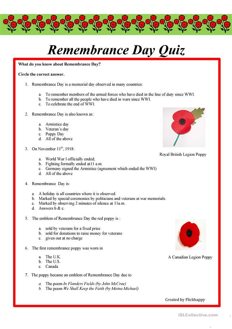 Remembrance Day Quiz Worksheet - Free Esl Printable Worksheets Made   Memorial Day Free Printable Worksheets