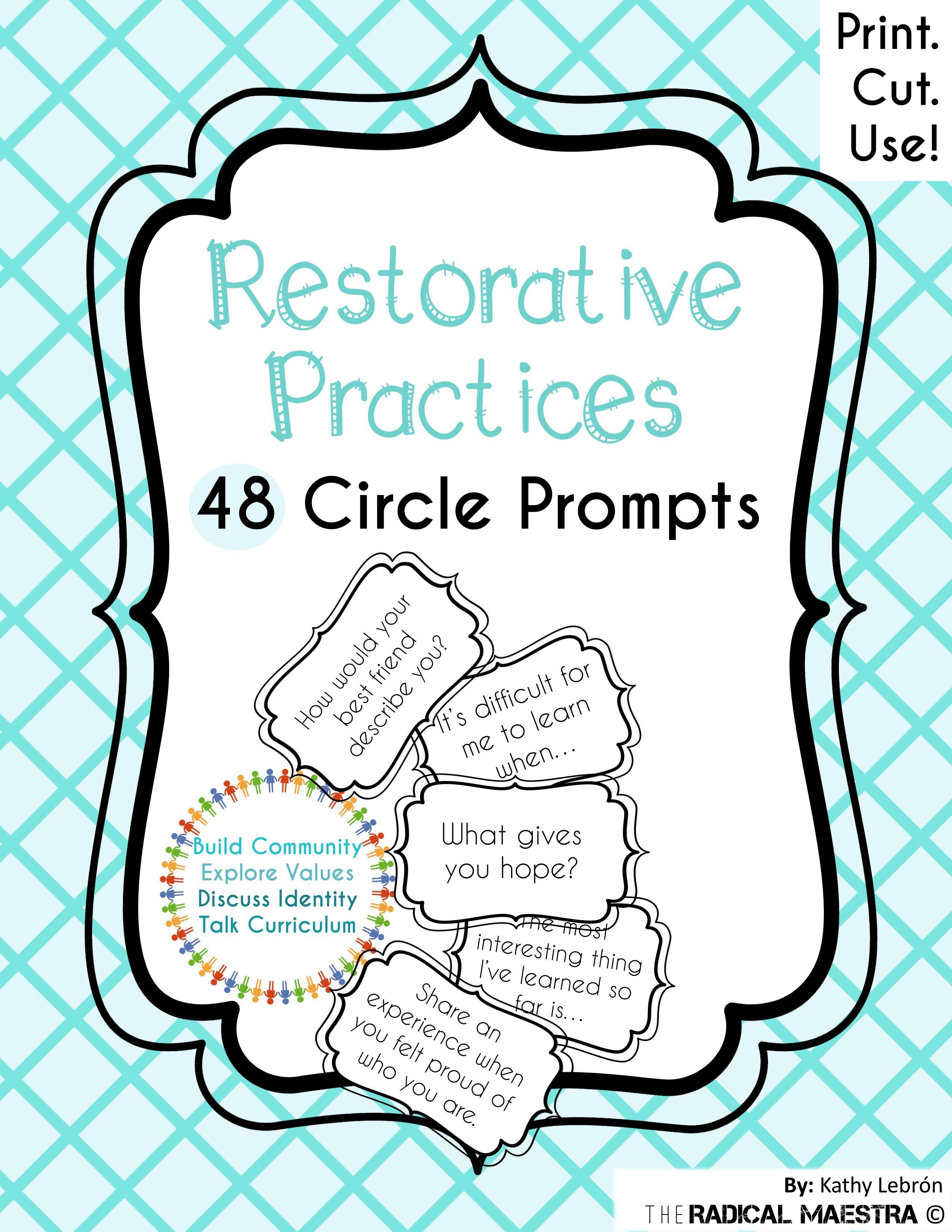 Restorative Circle Prompts | Restorative Practices | Restorative | Restorative Justice Printable Worksheets