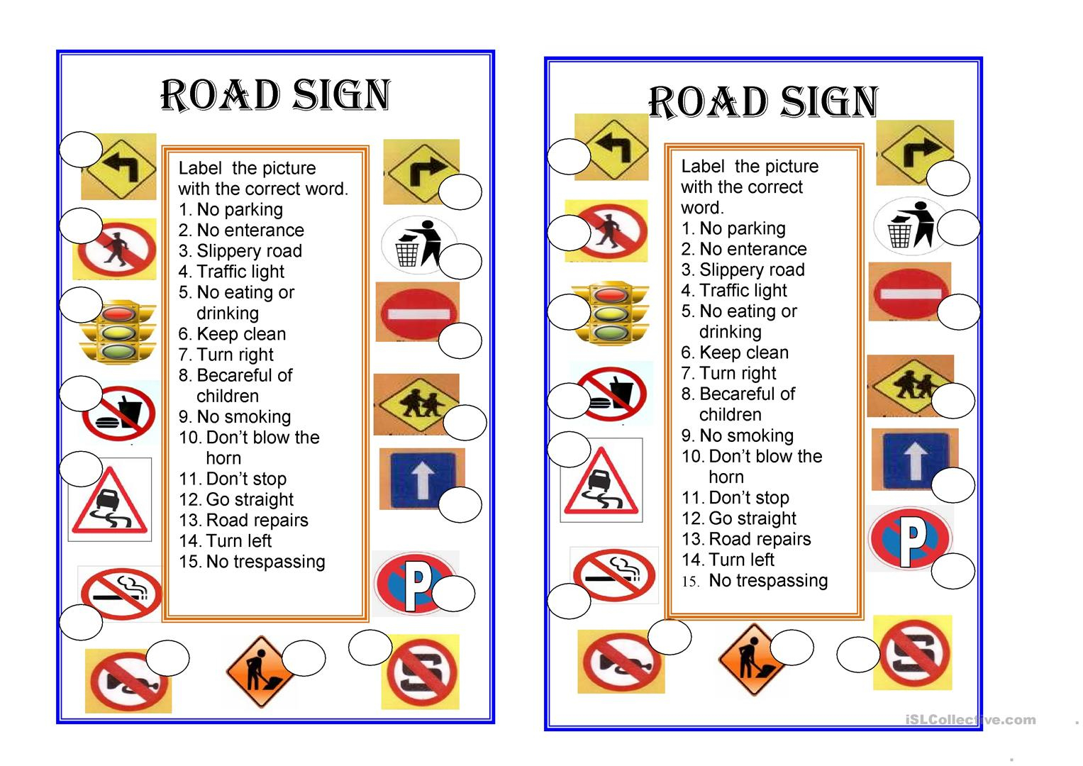 Road Signs Worksheet - Free Esl Printable Worksheets Madeteachers | Free Printable Traffic Signs Worksheets