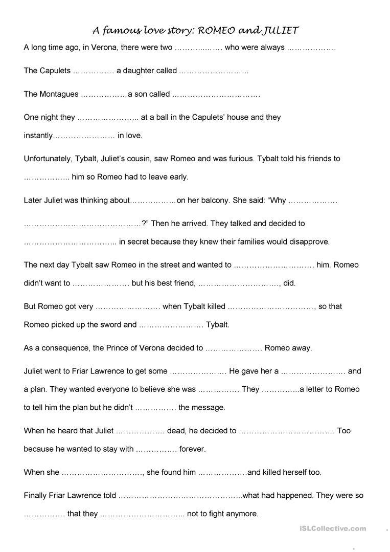 Romeo And Juliet Activities Worksheet - Free Esl Printable   Romeo And Juliet Free Printable Worksheets