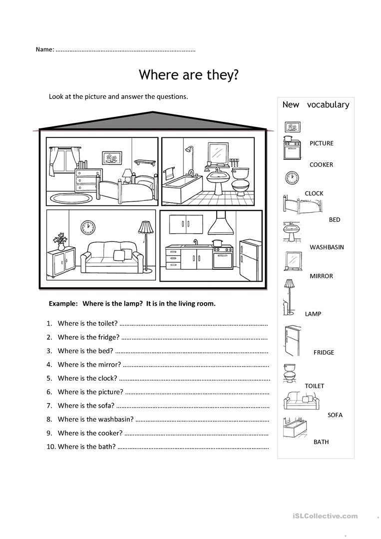 Rooms In The House Worksheet - Free Esl Printable Worksheets Made | Home Worksheets Printables