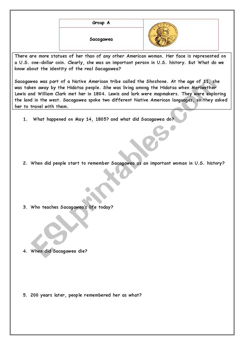 Sacagawea Reading - Esl Worksheetlltinall | Sacagawea Printable Worksheets